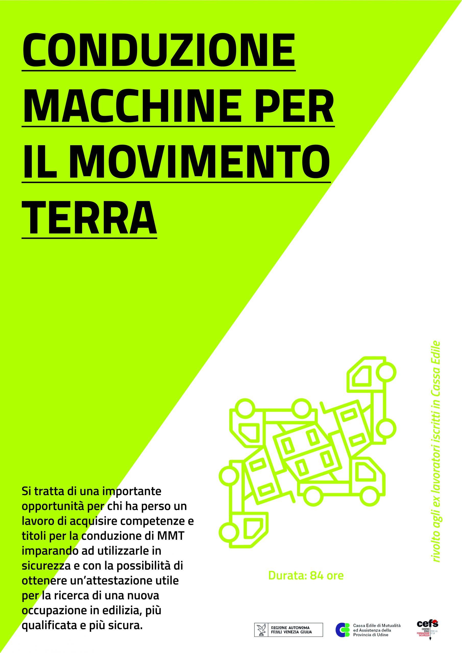 Formazione GRATUITA OPERATORI MACCHINE MOVIMENTO TERRA per lavoratori disoccupati – 84 ORE – (avvio 12 settembre 2019)